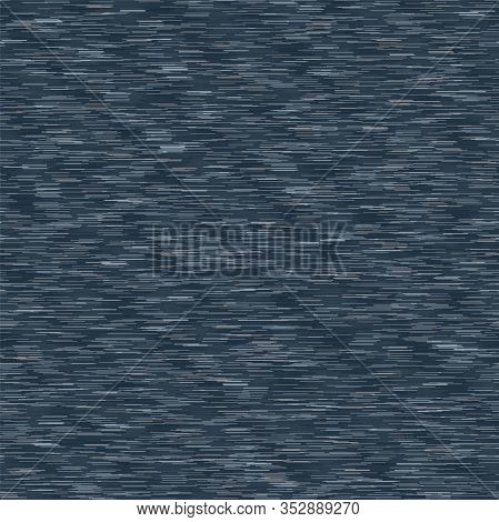 Classic Blue Denim Marl Vector Seamless Pattern. Heathered Jeans Camouflage Effect. Dark Indigo Spac