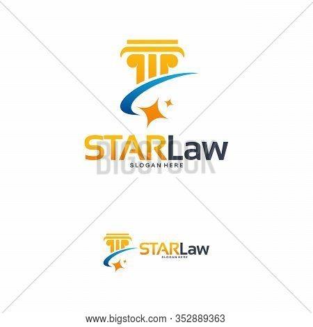 Star Law Logo Designs Concept Vector, Law Shiny Logo Template