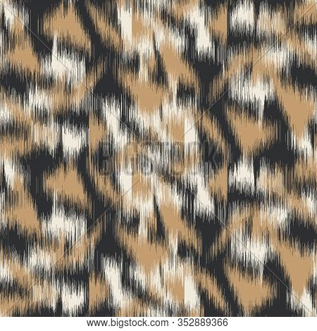 Spliced Vector Camouflage Spots Texture. Variegated Animal Skin Background. Seamless Camo Ikat Patte