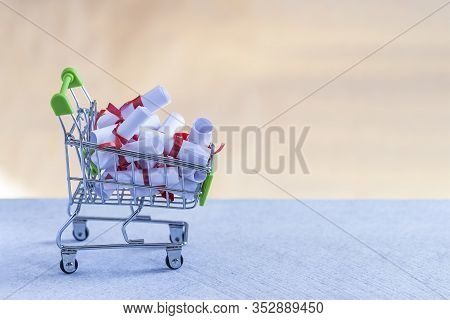 Lovely Letters In Shopping Cart. Dreams, Love, Desire, Volition, Want, Hope, Crotchet, Purpose Inten