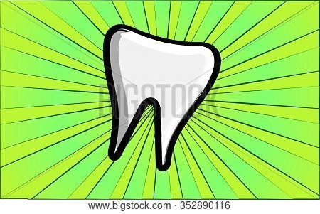 Medical Dental White Healthy Molar Tooth On A Background Of Abstract Green Rays. Vector Illustration