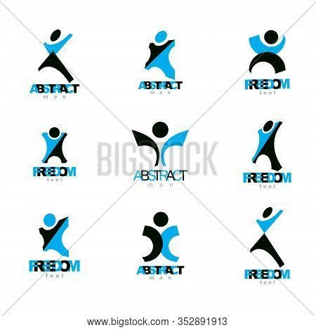 Vector Illustration Of Happy Abstract Human With Raised Hands Up. Freedom Abstract Symbol.