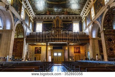 Lisbon - August 30, 2019: View Of The 18th Century Baroque Pipe Organ Installed In The Choir Gallery