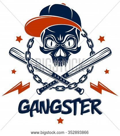 Criminal Tattoo ,gang Emblem Or Logo With Aggressive Skull Baseball Bats And Other Weapons And Desig