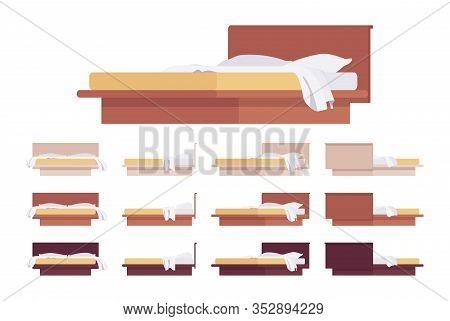 Modern Bed Wood Furniture Platform With Headboard And Linen. Pillow, Comfortable Blanket, Mattress F