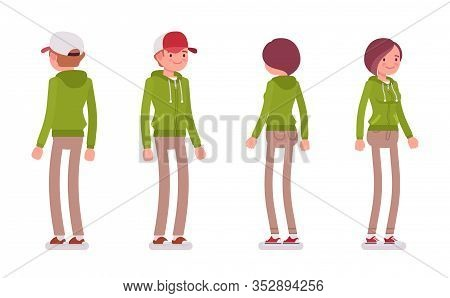 Young Man And Woman Wearing A Hoodie Jacket Standing. Cute Smart People In Casual Green Hoody, Youth