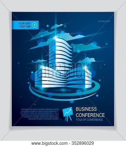 Office Building Brochure, Modern Architecture Vector Flyer With Blurred Lights And Glares Effect. Re