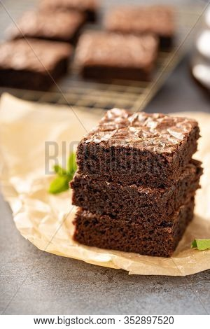 Stack Of Freshly Baked Homemade Moist Fudgy Brownies
