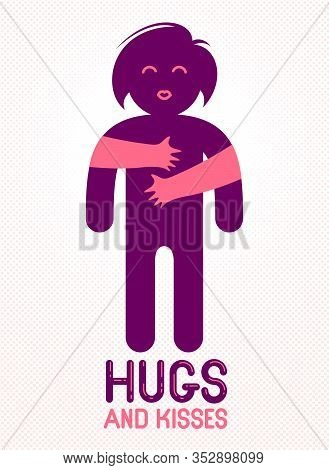 Hugs And Kisses With Loving Hands Of Beloved Person And Kissing Lips, Lover Woman Hugging Her Mate A
