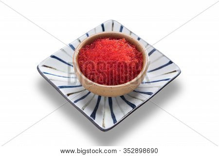 Japanese Food, Tobiko Sushi Dinner Meal Isolated On White Background