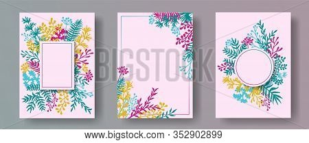 Cute Herb Twigs, Tree Branches, Leaves Floral Invitation Cards Collection. Herbal Frames Retro Invit