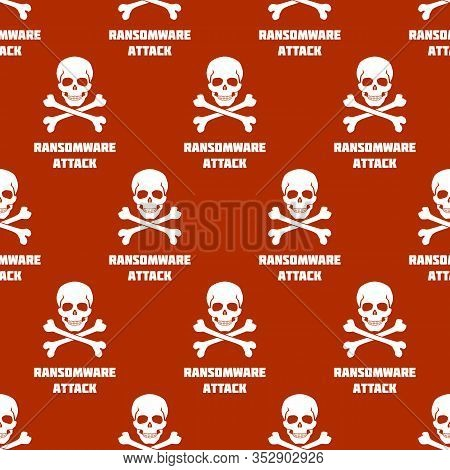 Seamless Pattern With White Skulls And Crossbones On Red Background. Symbol Of Ransomware Attack. Ve