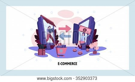 Ecommerce Business And Online Retail Concept. Woman Buy Product In Online Store. Delivery Service. V