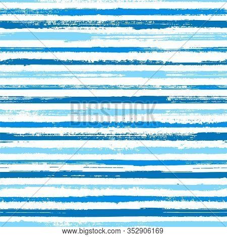 Stripes Watercolor Paintbrush Seamless Vector Pattern. Lines Art Tablecloth Pattern. Distressed Wate