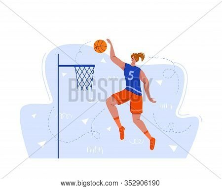 Basketball Player With Ball On Playground, Young Muscular Woman In Uniform Playing Match, Girl Jumpi