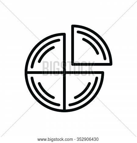 Black Line Icon For Quarter Analysis Bar Chart Presentation Quarterly Statistics Graphic Fourth Part