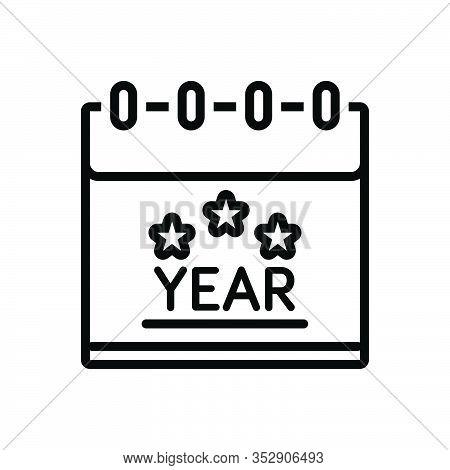 Black Line Icon For Year Month Calendar Dairy Almanac Calendar Reminder