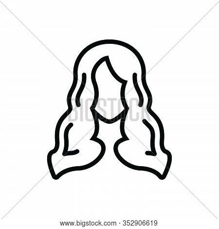 Black Line Icon For Hair Skin Scalp Style Hormone Anatomy Hygiene Women Model Hairstyle Long