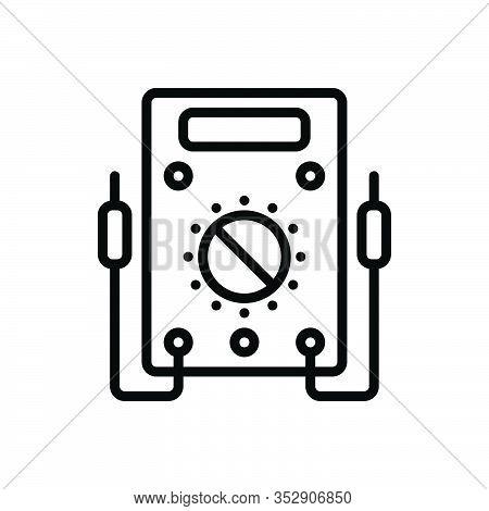 Black Line Icon For Voltmeter Ammeter Resistance Amperage Analog Appliance Control Current Electric