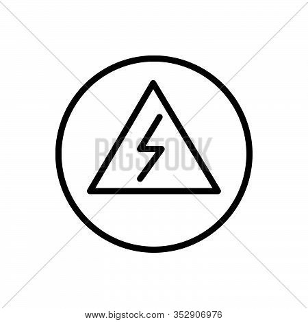 Black Line Icon For Danger Peril Hazard Risk Jeopardy Insecurity Menace Pitfall Crisis Alert Sign