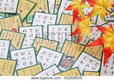 Kagawa, Japan - February 21, 2020 : A Photo Of Traditional Japanese Cards, Hyakunin Isshu Karuta Is