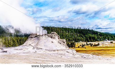 Steam Coming Out Of The Castle Geyser In The Upper Geyser Basin Along The Continental Divide Trail I