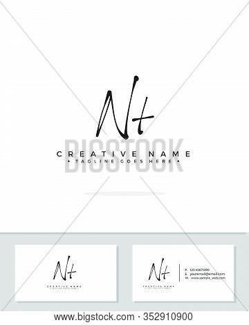 N T Nt Initial Logo Signature Vector. Handwriting Concept Logo.