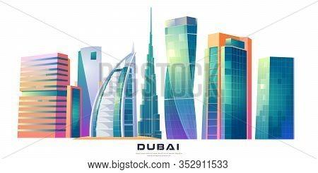 February 14, 2020. Cartoon Vector Illustration Burj Khalifa, Burj Al Arab, Cayan Tower Buildings, Du