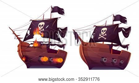 Sea Battle Of Retro Wooden Ships Vector Cartoon. Fight Of Pirate Galleon Or Attack Frigate, Sailboat
