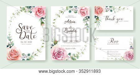 Floral Wedding Invitation, Save The Date, Thank You, Rsvp Card Design Template. Vector. Orange And P