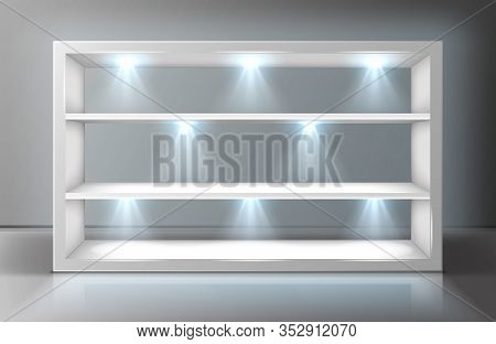 Glass Wall Display Case Frame With Shelves In Empty Exhibition Room Realistic Vector. Transparent Sh