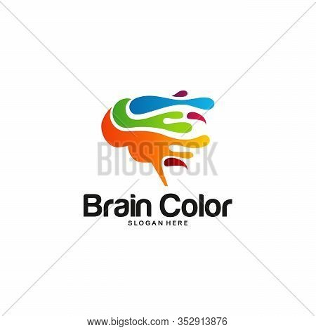 Colorful Brainstorm Logo Vector, Rain Logo Designs Template, Design Concept, Logo, Logotype Element