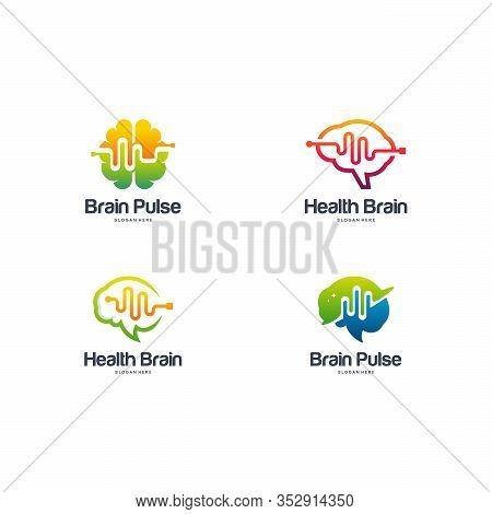 Collection Of Health Brain Logo Designs Concept Vector, Brain Pulse Logo, Brain Vibe Logo Template V