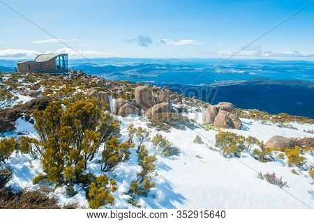The Wind Shelter On The Summit Of Mount Wellington In Hobart The Capital City Of Tasmania, Australia