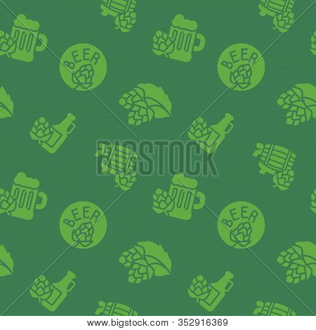Craft Beer Brewery Icons Pattern. Brewery Seamless Background. Seamless Pattern Vector Illustration