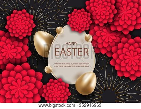 Happy Easter, easter bunny, easter background, easter banners, easter flyer, easter design,easter with flowers on red background, Copy space text area, vector illustration. Vector Easter illustration of gold and black abstract texture. Minimalistic black