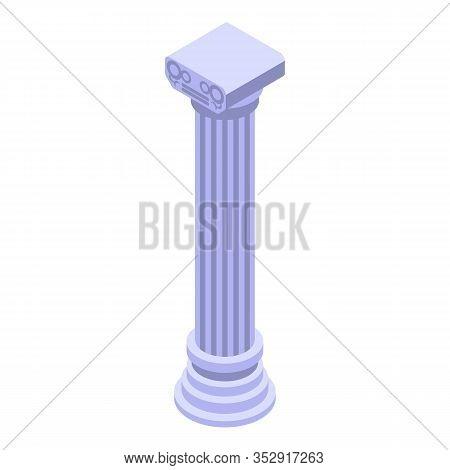 Roman Column Icon. Isometric Of Roman Column Vector Icon For Web Design Isolated On White Background