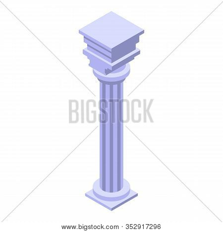Ruin Column Icon. Isometric Of Ruin Column Vector Icon For Web Design Isolated On White Background