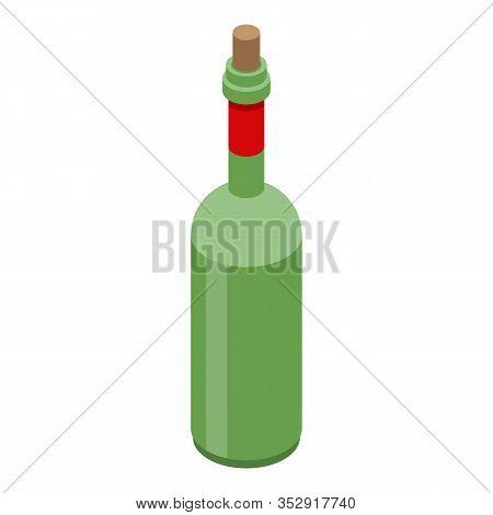 Vinegar Bottle Icon. Isometric Of Vinegar Bottle Vector Icon For Web Design Isolated On White Backgr
