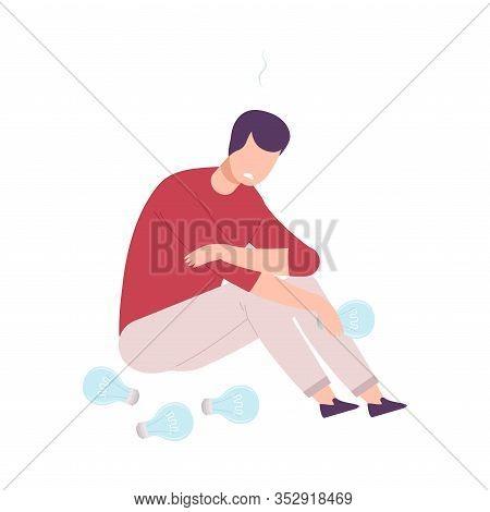 Depressed Businessman Character Having No Idea, Unsuccessful Person Feeling Stress, Business Fail Fl