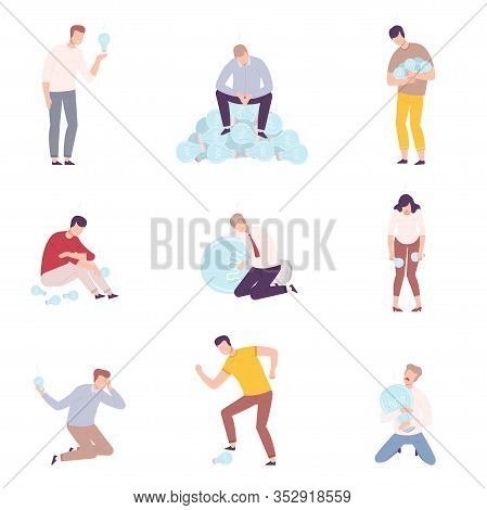 Business People Having No Ideas Set, Unsuccessful Men And Women Holding Off Light Bulbs Flat Vector