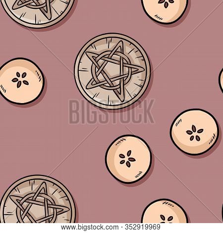 Apples Cut In Half And Wooden Pentacle Occult Signs Seamless Pattern. Wallpaper Of Wiccan Apples And