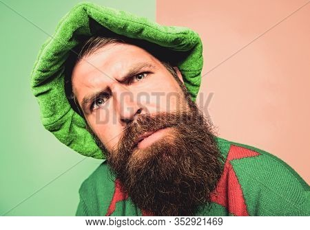 Who Is There. Picky Man Looking At Camera. Bearded Elf. Winter Carnival. St Patricks Day. Hipster Wi