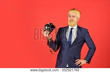 Photographer Eccentric Guy With Slr Camera. Classy And Old School. Photographer With Beard Mustache.