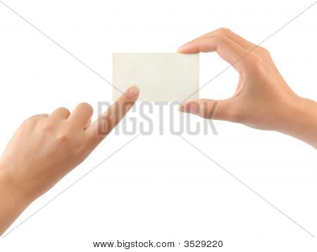 Paper Card And Pointing Hand