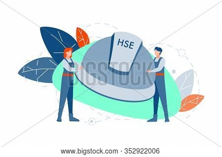 Hse, Protection Concept. Young Couple, Man And Woman Hold Big Helmet Together With Hse Acronym Or Ab