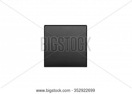 Elegant Black Paper Cube Box, Isolated, Front View, Mock Up Of Packing For Product, Advertising, Pre