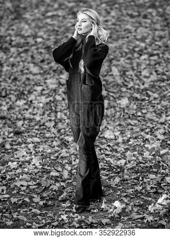 Fall Fashion Warm Cardigan. Girl Stylish Outfit With Soft Wool Or Cashmere Cardigan. Feel So Warm An