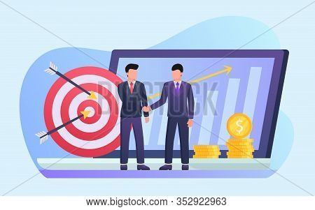 Business Partner Handshake Deal Agreement Partner With Modern Flat Style Vector