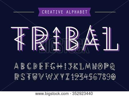 Vector Geometric Tribal Font. English Ethnic Alphabet. Aztec Linear Script. Decorative Abc Letters S